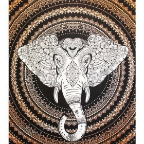 """Tapiz de tela \""""Geometric Elephant Mandala\"""", Naranja"""