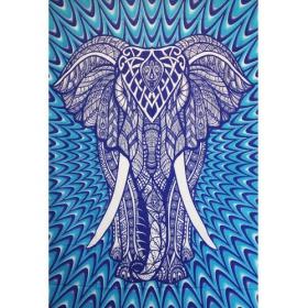 """Tapiz de tela \""""Geometrical Elephant\"""", Psique azul"""