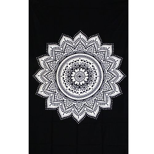 "Tapiz de tela \""Indian black Mandala\"", blanco y negro"
