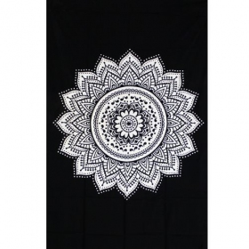 "Tapiz de tela ""Indian black Mandala\"", blanco y negro"