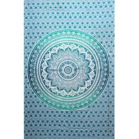 """Tapiz de tela \""""Lotus Mandala\"""", Verde y blanco"""