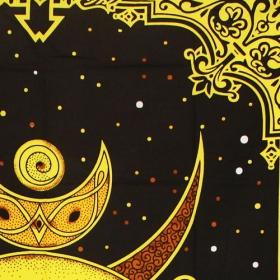 """Tapiz de tela \""""Triple Moon\"""", Negro y amarillo"""