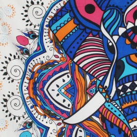 """Tapiz de tela grande \""""Big Elephant Mandala\"""", Azul"""