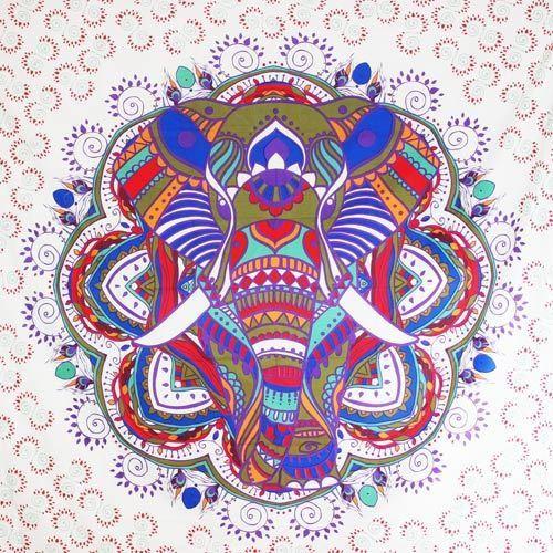 """Tapiz de tela grande \""""Big Elephant Mandala\"""", Morado"""