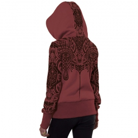 """Teardrop\"" zipped hoodie, Light wine"