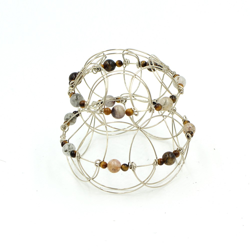 Tiger Eye stone Pyramid 2, wire 3D Mandala