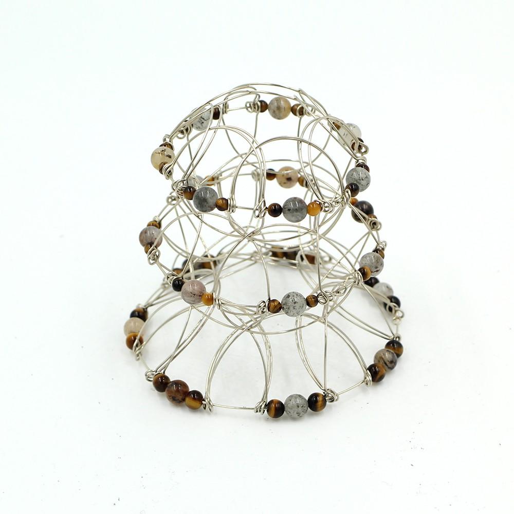 Tiger Eye stone Pyramid 3, wire 3D Mandala
