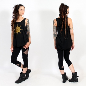 "\""Toonz mandala\\\"" tank top, Black and gold"