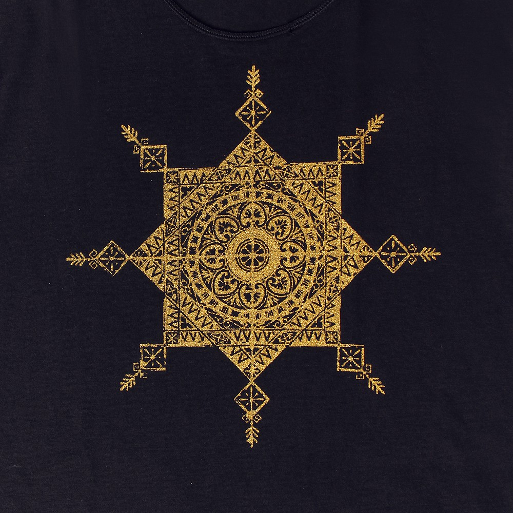 """Toonz mandala\"" tank top, Black and gold"