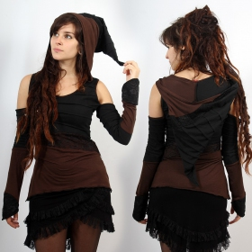 "Top ""Middage\"", Black brown with black lace"