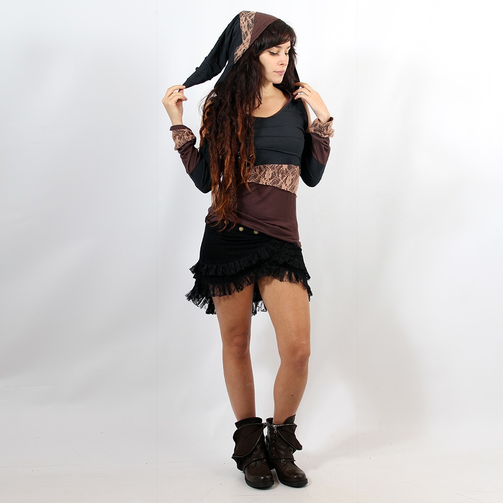 "Top ""Middage\"" Black brown with beige lace"
