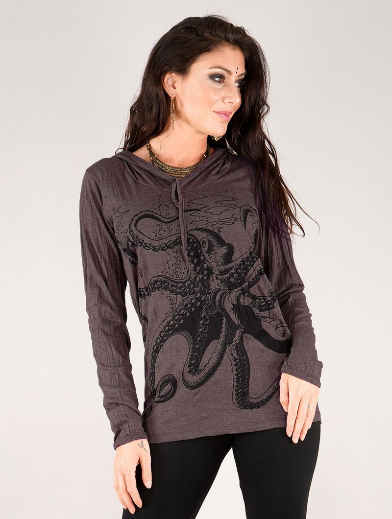 """Top con capucha \""""Octopus\"""", Taupe"""
