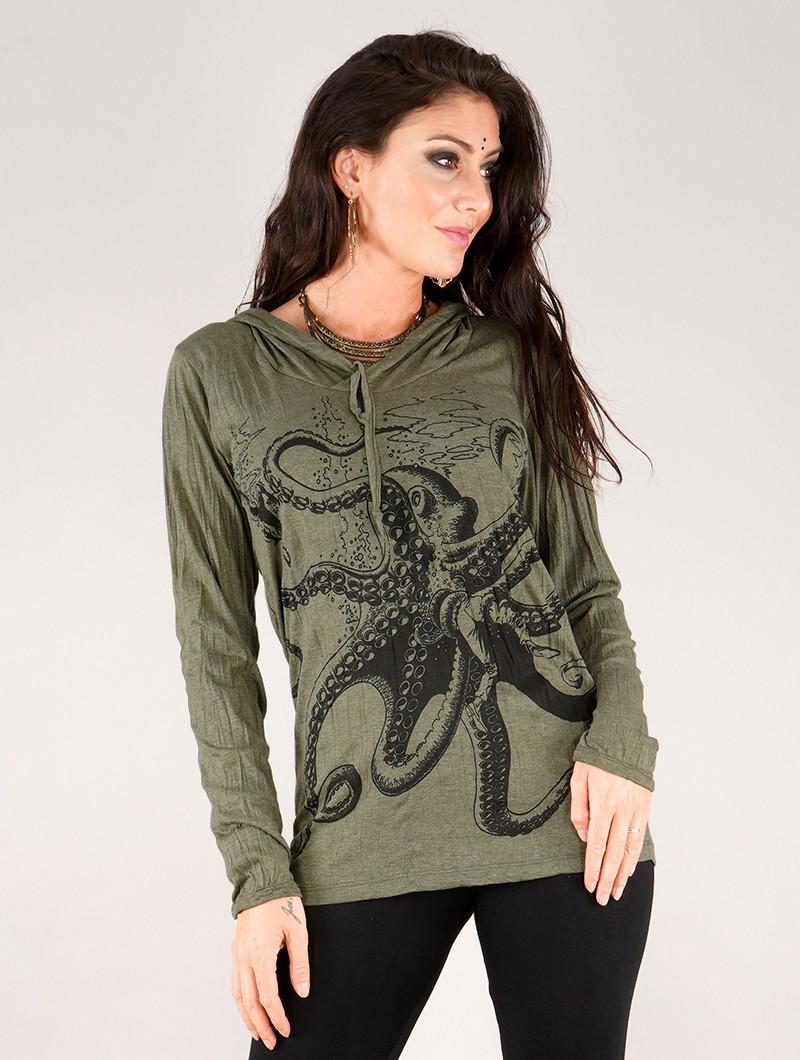 "Top con capucha \""Octopus\"", Verde oliva"