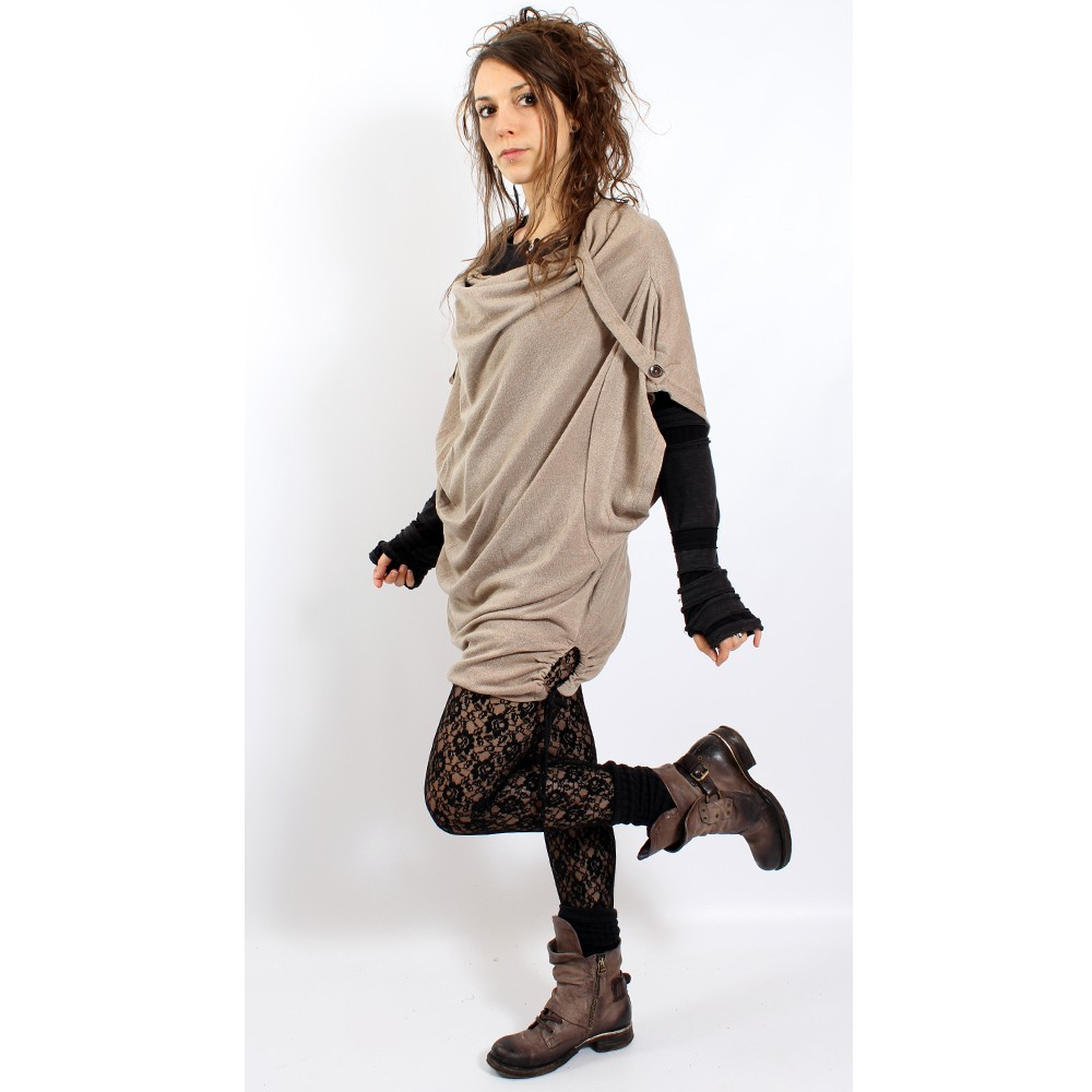 """Top witch \\\""""mandlu\\\"""", one size color linen"""