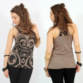 "\""Tribal\\\"" tank top, Light brown"