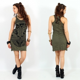 "\""Tribal tattoo face\\\"" dress, Khaki"