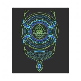 """Tshirt Shaman \""""Lotus Sri Yantra\"""", Black"""