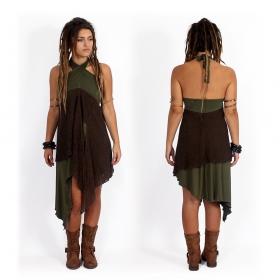 """Túnica/Falda 2en1 \""""Syrada\"""", Verde y encaje marrón"""