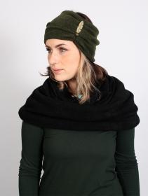 """Turbante con plumas \""""Aikköoz\"""", Verde caqui"""