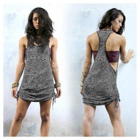 "\""Ubud Waves\"" dress, Black and grey print"