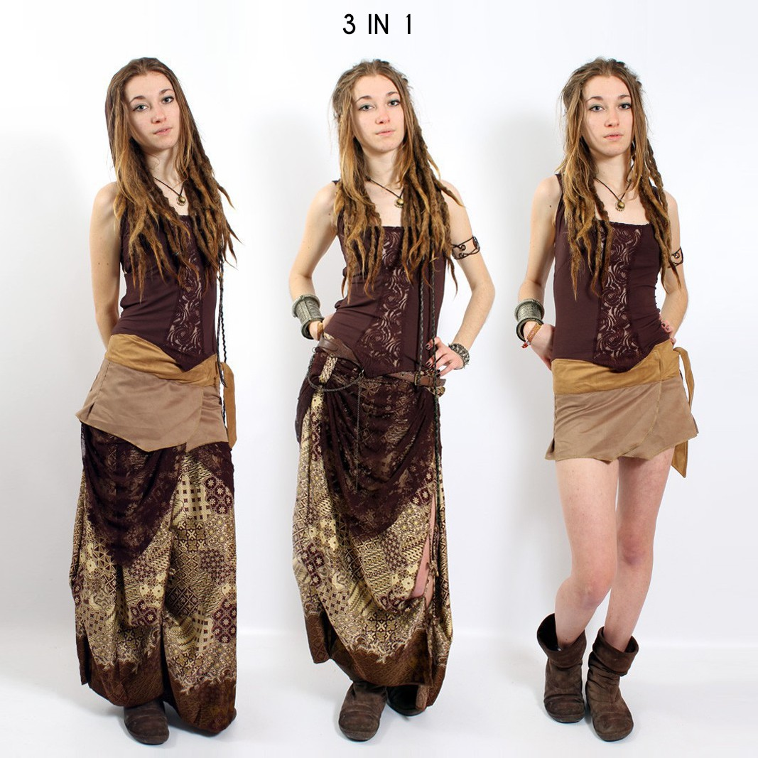 """""""Utopia"""" skirt, Brown with patterns"""
