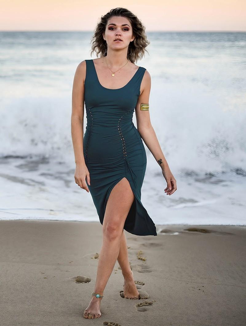 """Vestido \""""Angelina\"""", Azul petróleo"""