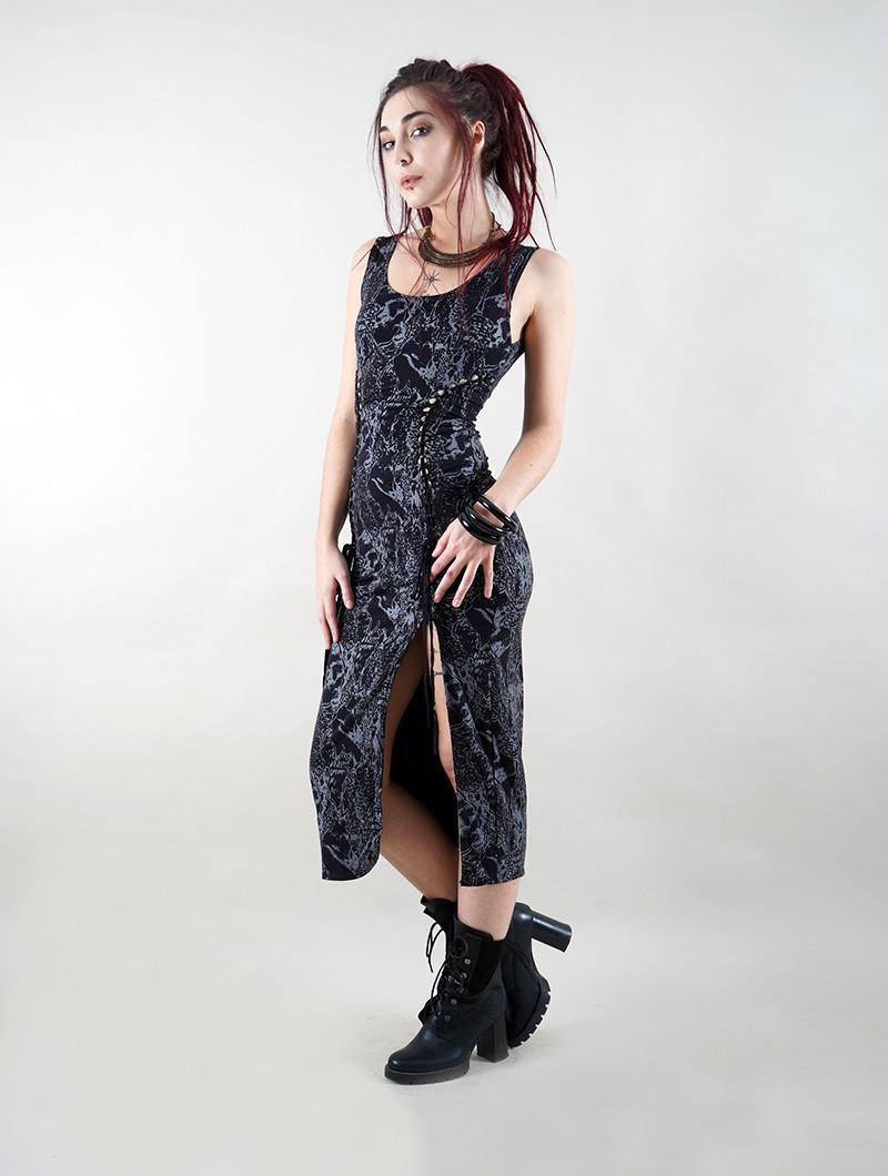 """Vestido \""""Angelina\"""", estampados reptiles negros"""