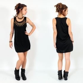 "Vestido ""Feather neck\"", Burdeos jaspeado y negro"