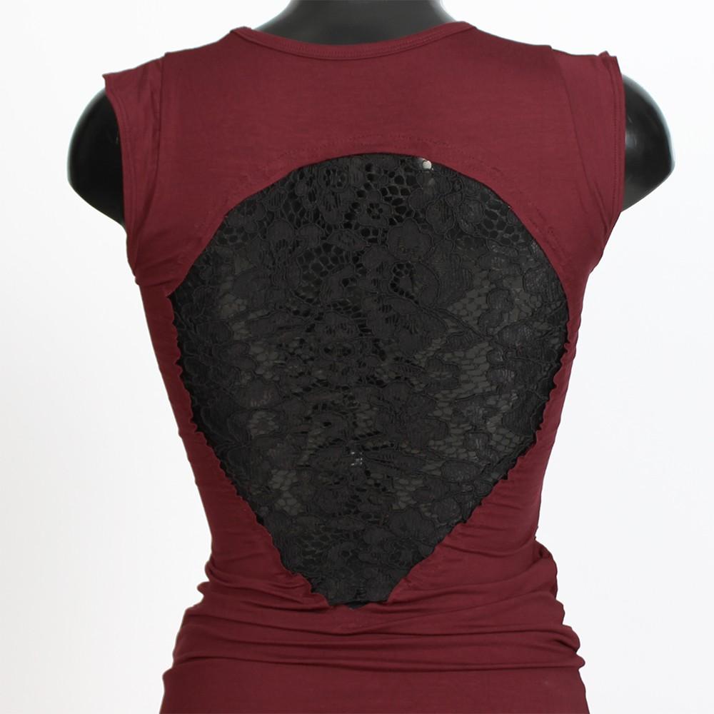 """Vestido \""""Jadeite largo\"""", Rojo oscuro y negro"""