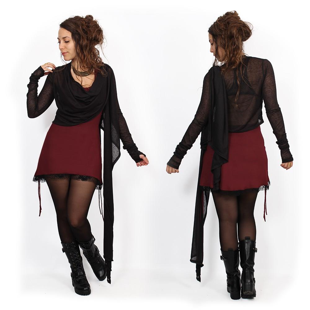 "Vestido \""Little dress\"", Rojo oscuro y negro"