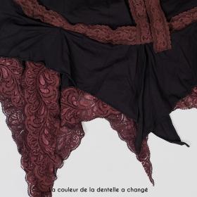 "Vestido \""Nehelenia\"", Negro y encaje marrón"