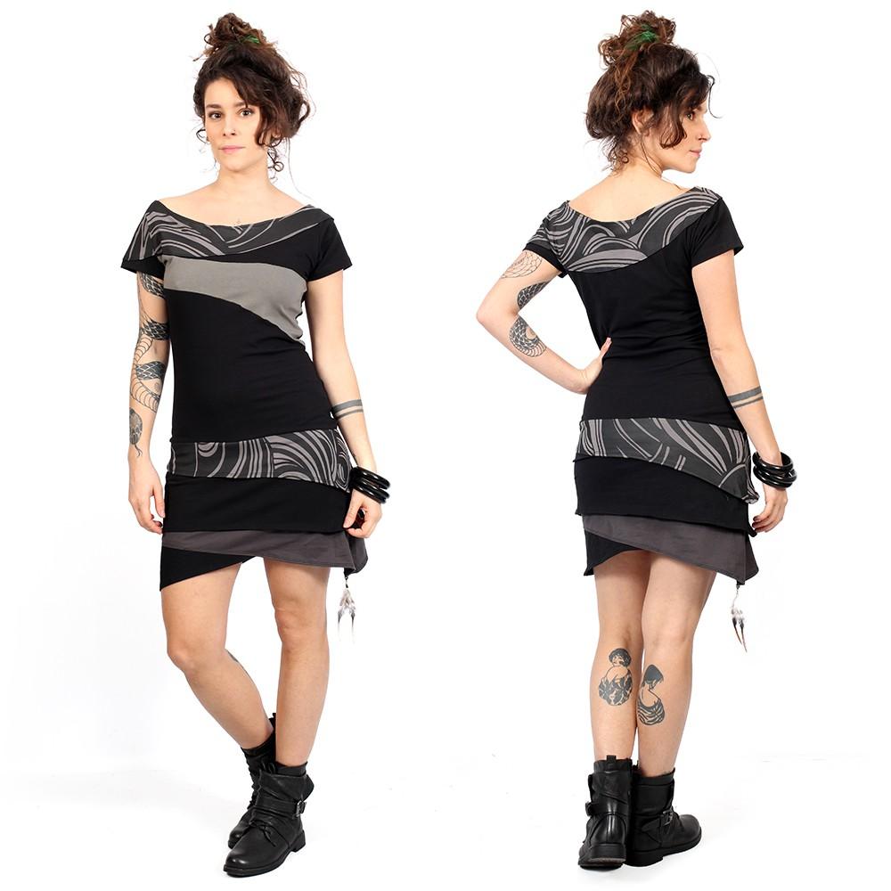"""Vestido \""""Sensa\"""", Negro y gris"""