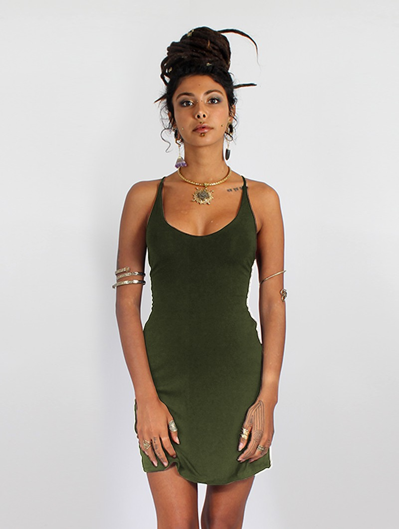 "Vestido \""Sunee\"", Verde caqui"
