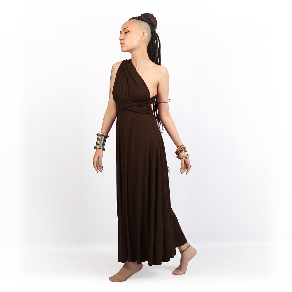 "Vestido \""Wakiza\"", Marrón oscuro"