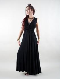 Vestido largo negro y drapeado tipo infinity dress Wakiza by Exception