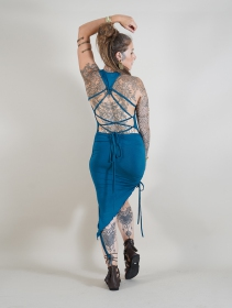 """Vestido asimétrico \""""Deepti\"""", Azul petróleo"""