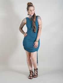"""Vestido corto \""""Fawiza\"""", Azul petróleo"""