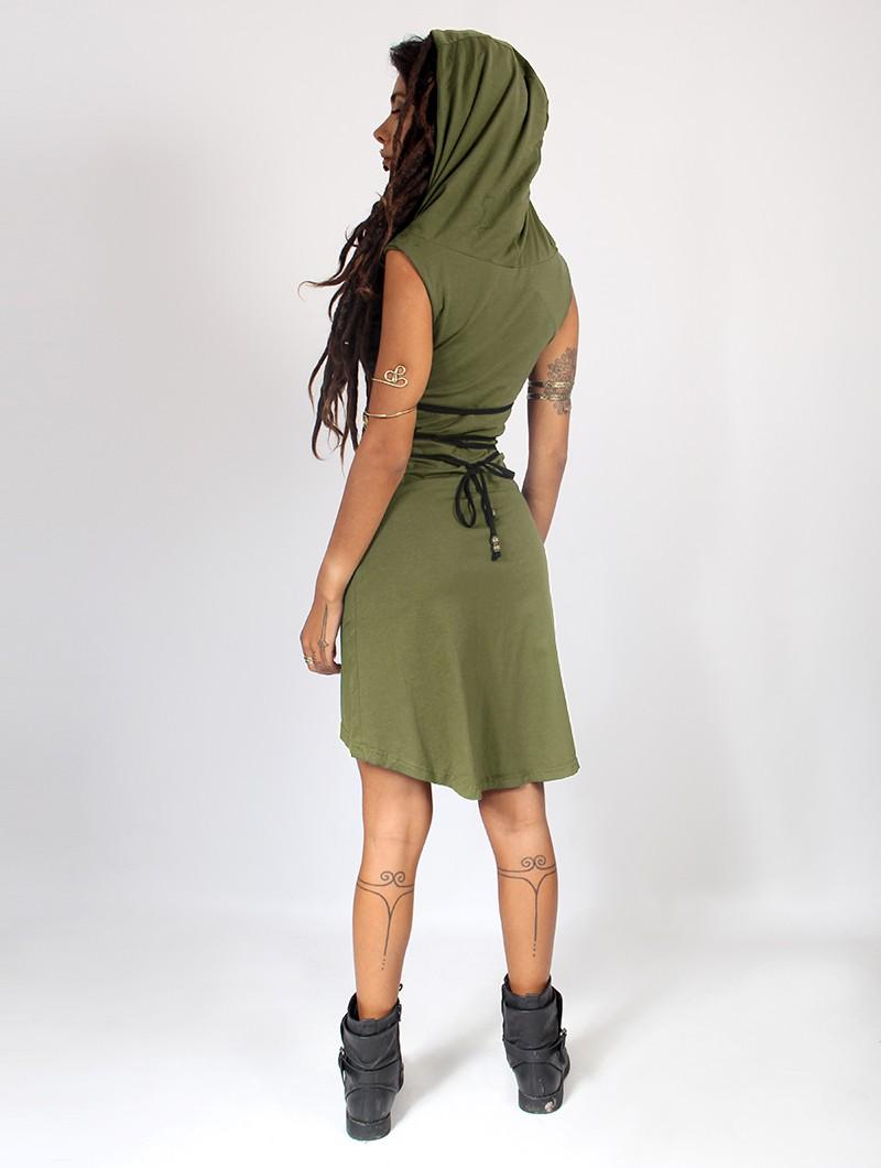 """Vestido corto \""""Liskä\"""", Verde caqui"""