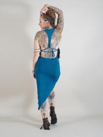 "Vestido corto asimétrico \""Haripriya\"", Azul petróleo"
