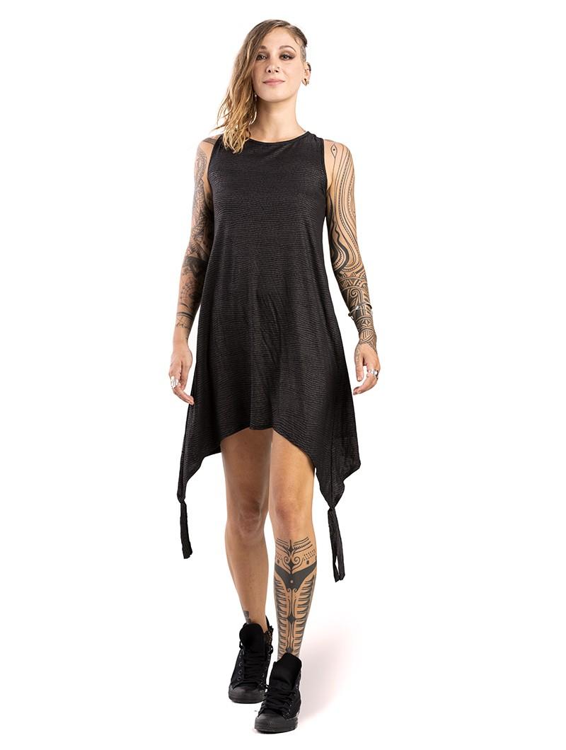 """Vestido corto suelto \""""Olapa\"""", Negro con estampados plateados"""