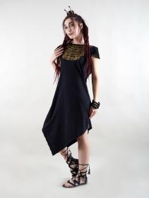 """Vestido de manga corta \""""Lakshmi\"""", Negro impreso dorado"""