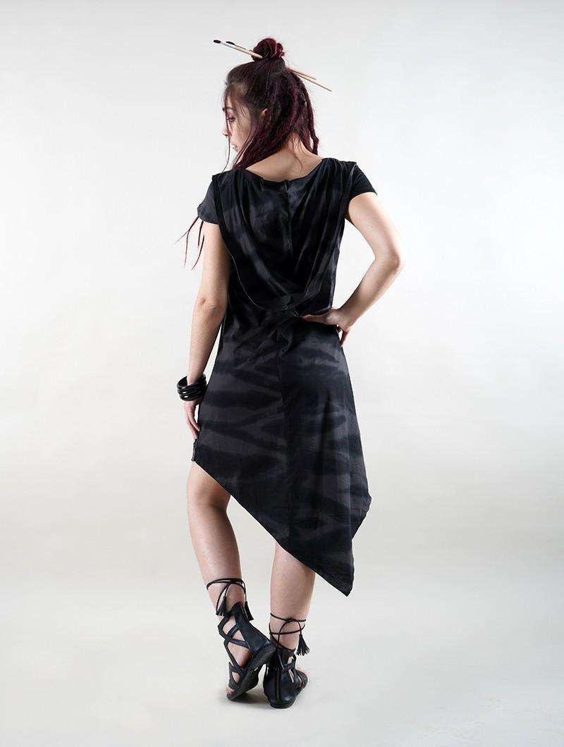 """Vestido de manga corta \""""Lakshmi\"""", Negro Tie Dye"""