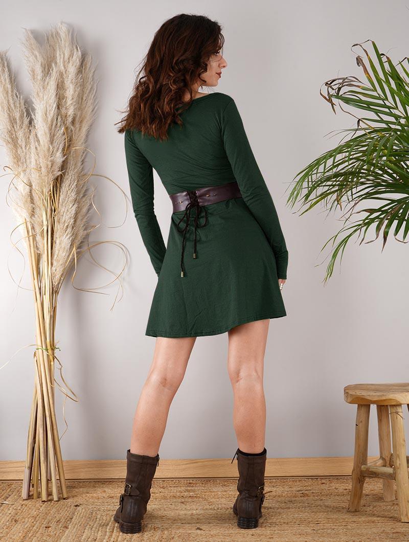 """Vestido de manga larga \""""Ysïaa\"""", Verde pato"""