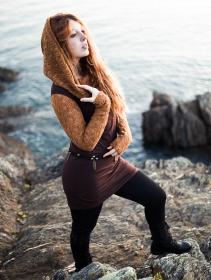 """Vestido de manga larga de ganchillo \""""Atmäa\"""", Óxido y marrón"""