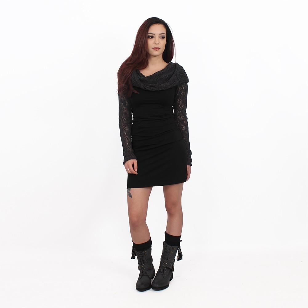 """Vestido de mangas largas de ganchillo \""""Atmäa\"""", Negro y gris"""