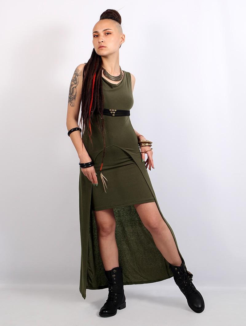 """Vestido largo \""""Azeälya\"""", Verde caqui"""