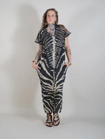 """Vestido largo \""""Gypsy Zebra\"""", Negro y beige"""