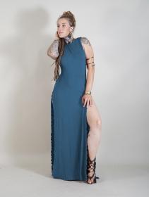 "Vestido largo \""Ikshana\"", Azul petróleo"