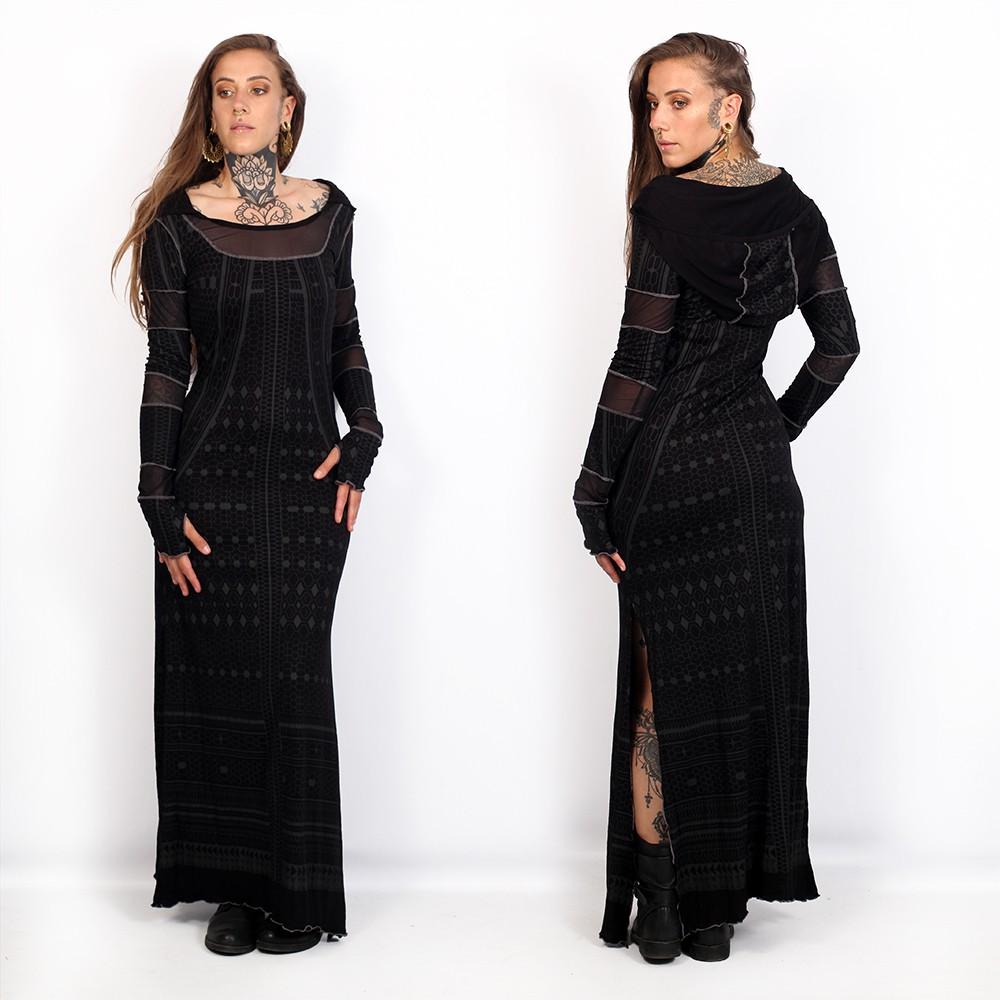 "Vestido largo \""Inanna Kalinga\"", Negro"