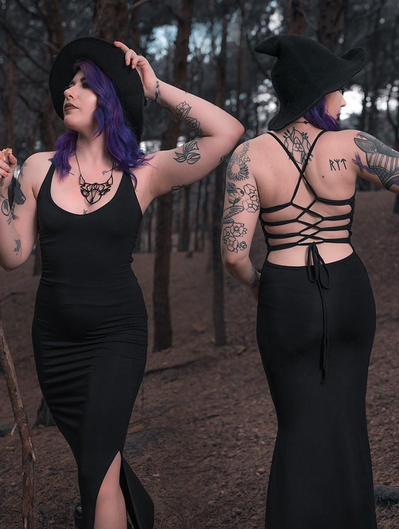 "Vestido largo \""Sunee\"", Negro"
